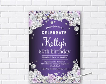 Purple invitation etsy diamond birthday birthday invitations glitter invitation purple diamonds woman birthday sparkle invitation purple card 592 filmwisefo