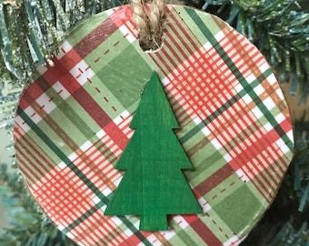 Christmas Ornaments Birch Wood Ornaments Country Christmas Ornaments Rustic Christmas Ornaments Plaid Ornaments Handmade Christmas Decor