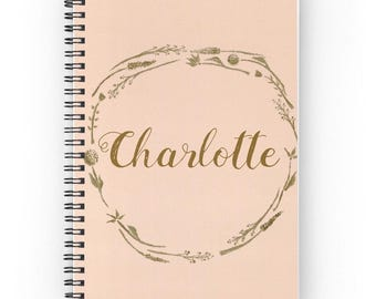 Personalized Blush Gold Notebook, name notebook, custom notebook, custom journal, personalized journal, pink notebook, gold notebook