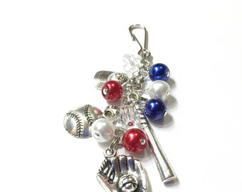 Baseball Themed Bag charm, zipper pull, key ring, bookmark. YOU CHOOSE the team COLORS. Baseball Charms. Pearl & Crystal Beads