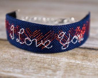 Hand Embroidered Bracelet - Love