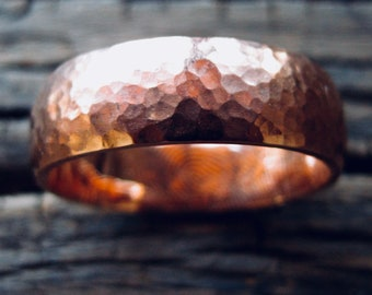 Finger Print Wedding Band in 14K Rose Gold with Hammered Surface and Handwritten Engraving Size 13