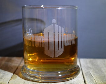 Hand Made Etched Whiskey glass- A Hit T.V. Series on Netflix Doctor Who!!