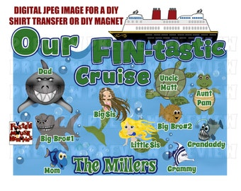 Digital Sea Creatures Family Disney Cruise Shirt Transfer or Door Magnet Matching Family Cruise Shirts Personalized shirts