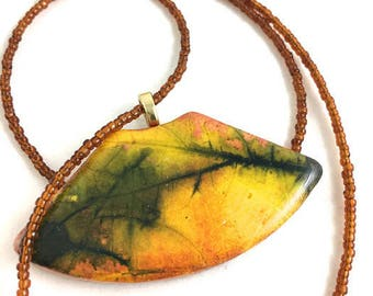 Fall leaf print polymer clay necklace fan shaped pendant copper, yellow, black