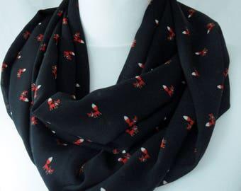 Little fox print infinity scarf, Fox print scarf, Children's scarf, Cute fox scarf, Circle scarf, Scarf with fox print, Lightweight scarf