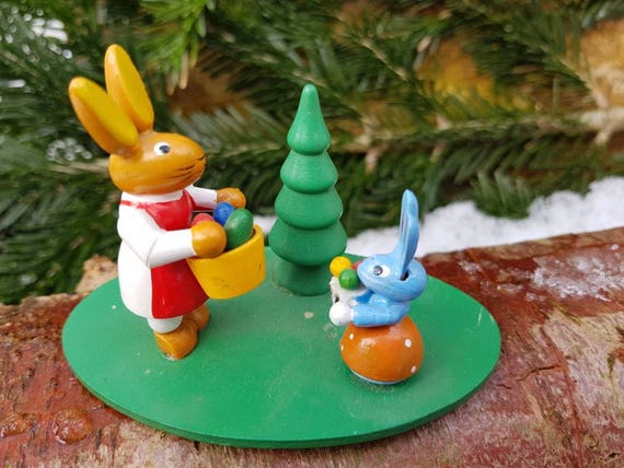 Like Mother Like Daughter Erzgebirge Folk Art Vintage German Handmade Wooden Toy Rabbit Mini Figurine Easter Bunny