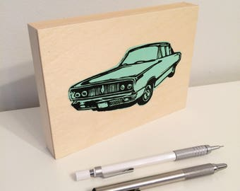 Classic Car Block Print on Wood Panel - Green