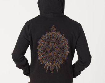 Mens Hoodie Psychedelic Mandala Screen Print, Black Hoodie, Hoody, Festival Hoodie, Burning Man Men, Uv Reactive, Gifts For Him