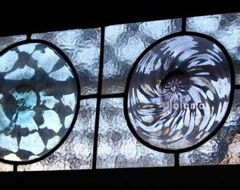 Stained glass, Art Nouveau, architectural details, Geometric art, windows, Gaudi, Barcelona prints, Park Guell