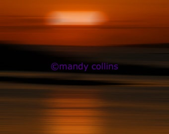 Golden Sunset 2 is an abstract artwork of a beautiful sunset at Rhosneigr, Anglesey, North Wales - Fine Art Photography by Mandy Collins