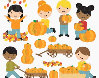 pumpkin patch clipart clip art digital - Pumpkin Patch Kids Digital Clipart - BUY 2 GET 2 FREE