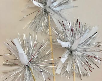 12 Pcs Tinsel Silver-White on Skewer Stick- Birthday Party, Cake Toppers, Holiday Decor