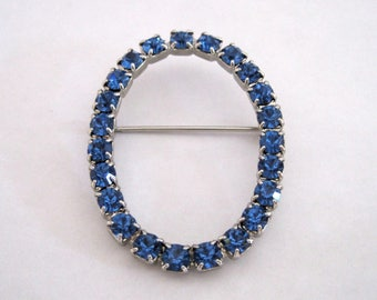 Vintage Blue Sapphire Rhinestone Brooch Oval Initial O Pin