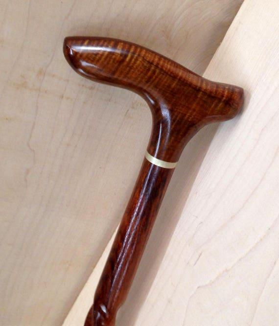 "Curly Hawaiian Koa Cane Handle Brown Indian Rosewood Spiral Shaft Cane Walking Stick 36 1/4"" long  Wooden Semi-Gloss Lacquer KR-112117-A"