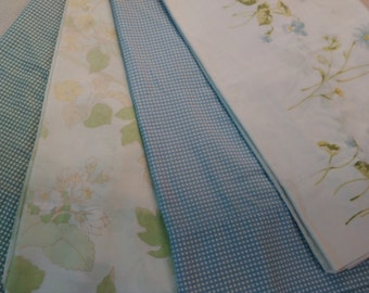 Set of 4 Vintage Mix and match Pillowcases King size Floral Gingham Shabby Chic Cottage chic