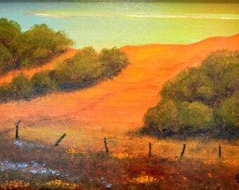 paintings of hills, Hill landscapes, Golden hills, California hills, Impressionistic, An Orange Hill, on CANVAS print