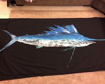 Original SailFish Gyotaku Fish Rubbing By Alex Dragoni