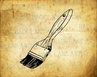 Paint Brush 2  Clipart Lineart Illustration Instant Download PNG JPG Digi Line Art Image Drawing L058