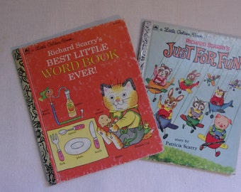 Set of Vintage Richard Scarry Little Golden Books Children's Books Lowly Worm and Huckle Cat