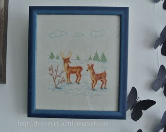 Frame - Embroidery - stag and DOE mountain