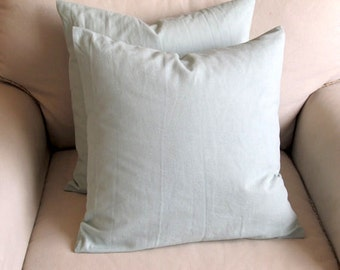 pair of spa blue organic cotton duck pillow covers