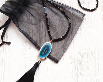 Boho Necklace Long • Tassel Necklace Beaded • Agate Slice Necklace • Black Onyx Necklace • Boho Jewelry • Bohemian Jewelry Necklaces