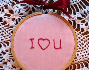 Valentine Hoop Art I Love You