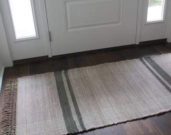 Tan and Green Stripe Rag Rug with knotted fringe