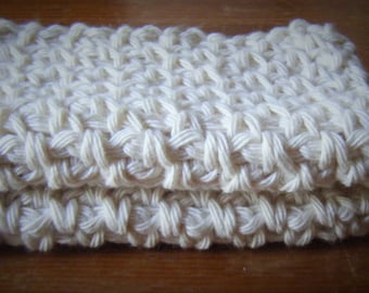 Set of 2 Cotton Crochet Wash Cloths for Bodies or Dishes! Cream