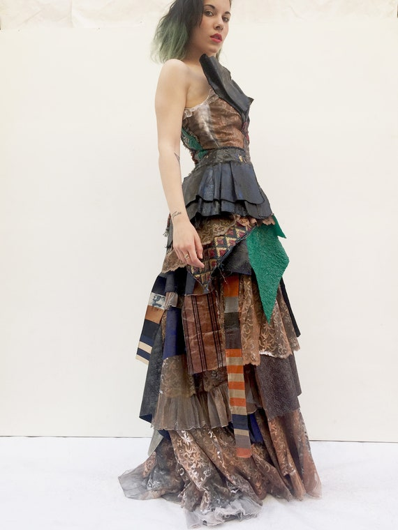 Artwork LOLA DARLING Long Patchwork Dress Upcycled fabrics Sculpure Art Dress One of a Kind Handmade in Italy Sustainable Luxury Clothing