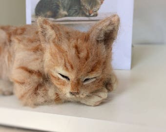 Needle felted kitten..made like the photo at the back but requested a ginger tabby coat. NOW SOLD