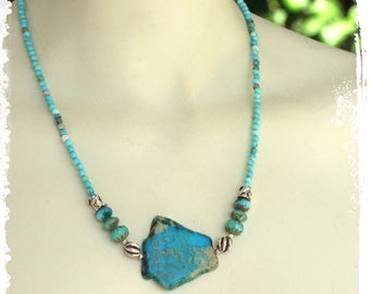 Aqua Terra Jasper Southwestern Turquoise Boho Short Stone Slab Necklace Sterling Silver Gift for Her Statement Jewelry