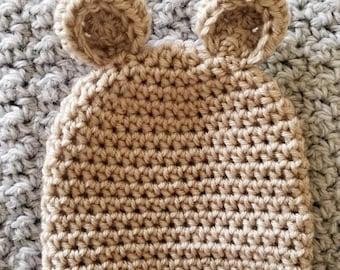 Crochet teddy bear beanie