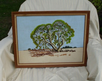 Original Vintage Crewel Art // Framed Artwork // Tree Farm Old Fence // Handmade Needlework