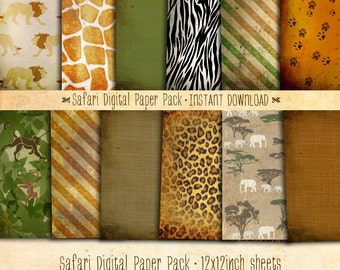 Safari Paper Pack 12 Printable Digital Sheets - INSTANT DOWNLOAD - Scrapbooking Card Making Birthday Party Decoration by Sassaby