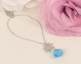 Daisy- Swiss blue Quartz Necklace