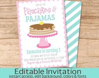 Pajama party invite etsy pancakes and pajamas invitation pink pancake girl birthday invite pajama party sleepover editable birthday invitation instant download filmwisefo
