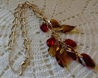 Necklace: Waterfall Red/Gold Glass Gems