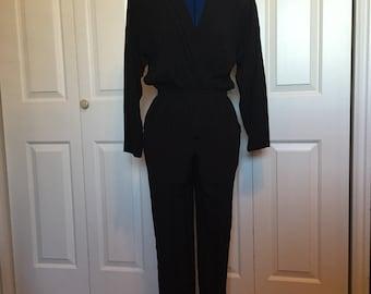 80s Black Wrap Jumpsuit