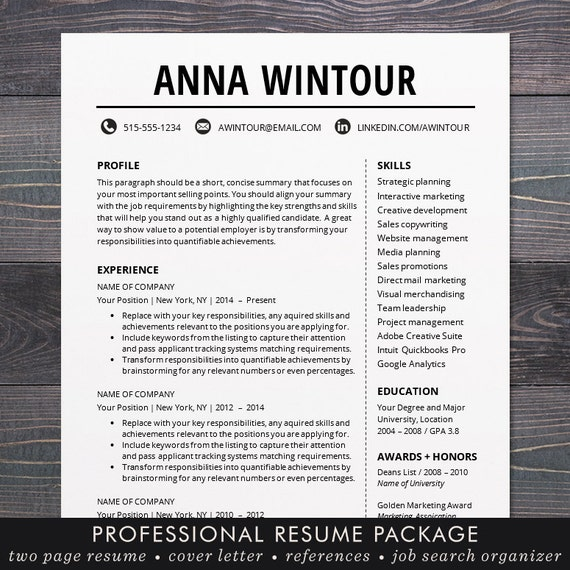 Resume template cv template for word mac or pc resume template cv template for word mac or pc professional resume design cover letter creative teacher the wintour yelopaper Gallery