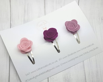 Baby/Girl Felt Rose Hair Clips - Baby Clips -Flower Clips- Felt Rose Snap Clip -Baby Fringe Clip - Hair Clip Set - Can be made in any colour