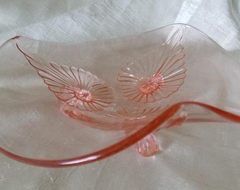 Lancaster Glass Pink Footed  Centerpiece Bowl