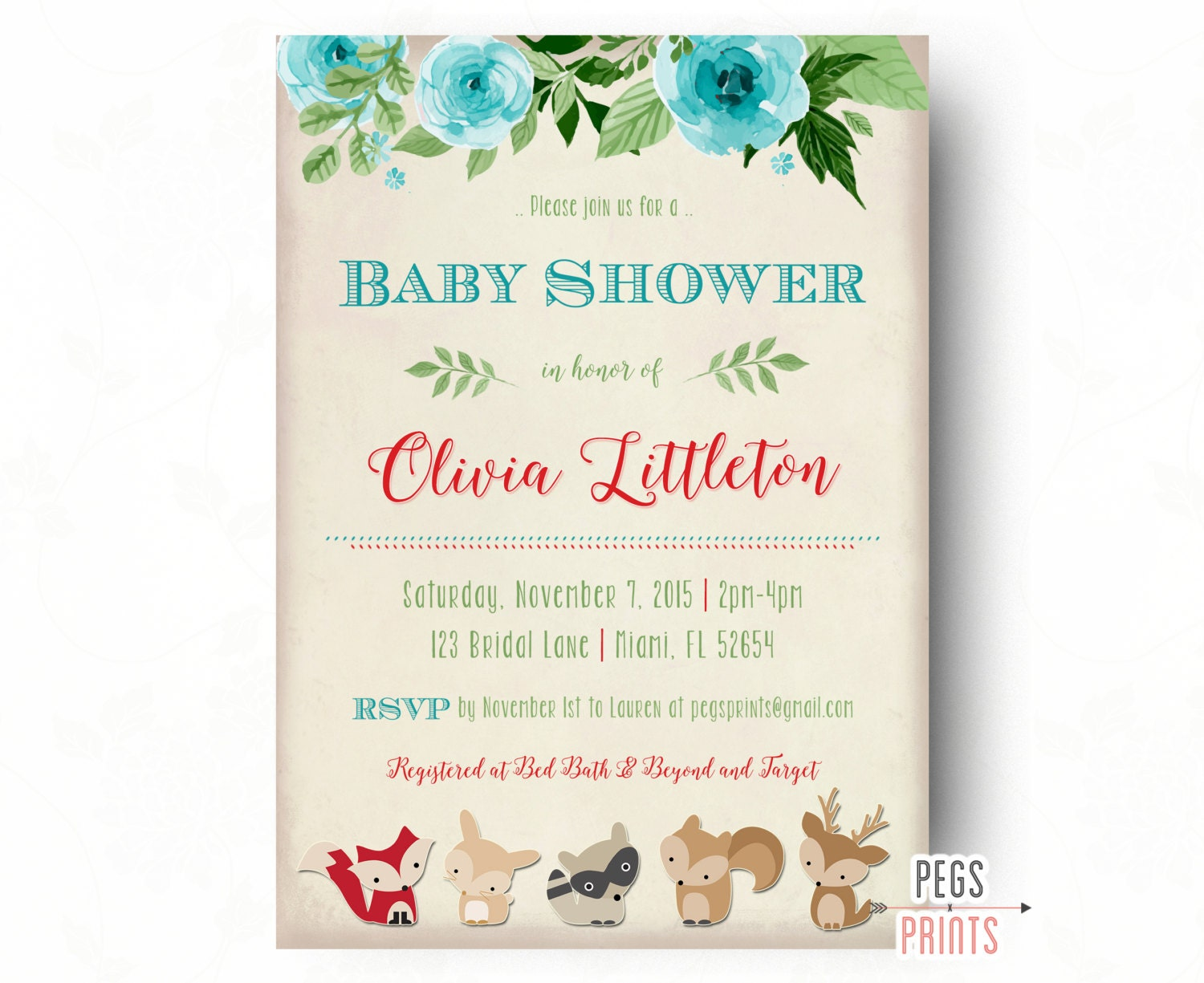 Woodland Baby Shower Invitation Forest Friends Show On Cookie ...