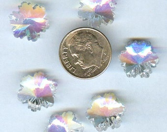 Faceted Snowflake Designer Glass Beads Clear With AB One Side 14mm 6pcs