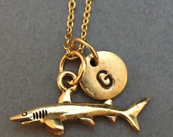 Shark necklace, shark charm, animal necklace, personalized necklace, initial necklace, initial charm, monogram