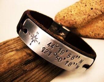 FAST SHIPPING/ Men Personalized Bracelet, Men's Bracelet. Men Bracelet.Hand press Aluminum plate. Compass,Coordinate Personalized Bracelet