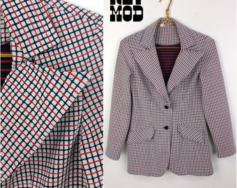 Sassy Vintage 60s 70s Red, White & Blue Plaid Double Knit Blazer!
