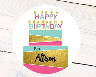 Happy Birthday Cake Personalized Label - Gift Tag labels - From - To Gift Labels - Address Labels