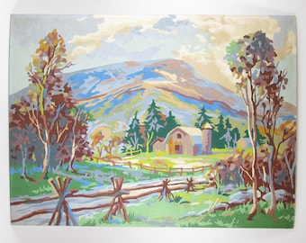 Vintage Paint by Number Farm with Barn and Mountain Mid Century PBN Unframed Painting
